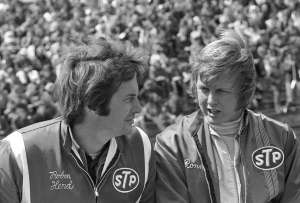 March designer Robin Herd(GBR) left, and Ronnie Peterson(SWE)