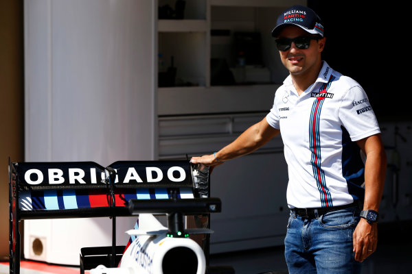 Interlagos, Sao Paulo, Brazil. Thursday 10 November 2016. Felipe Massa, Williams Martini Racing, reveals a new livery for his final Brazilian Grand Prix. World Copyright: Andrew Hone/LAT Photographic ref: Digital Image _ONZ4521