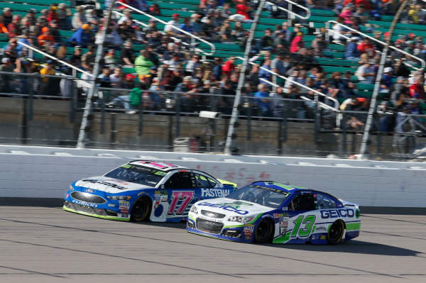 Monster Energy NASCAR Cup Series Hollywood Casino 400 Kansas Speedway, Kansas City, KS USA Sunday 22 October 2017 Ricky Stenhouse Jr, Roush Fenway Racing, Fastenal Ford Fusion Ty Dillon, Germain Racing, GEICO Chevrolet SS World Copyright: Matthew T. Thacker LAT Images
