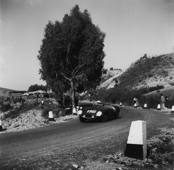 Piccolo Madonie, Sicily, Italy. 16th October 1955.Eugenio Castellotti/Robert Manzon (Ferrari 860 Monza), 3rd position, action. World Copyright: LAT Photographic.Ref:  B/W Print.