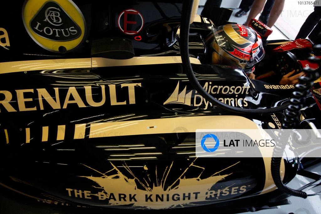 Silverstone, Northamptonshire, England7th July 2012The Dark Knight Rises logo on the car of Romain Grosjean, Lotus E20 Renault. World Copyright:Andrew Ferraro/LAT Photographicref: Digital Image AF5D0594