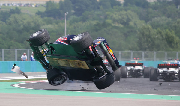 2005 Hungarian Grand Prix - Sunday Race,Budapest, Hungary. 31st July 2005 Christian Klien, Red Bull Racing Cosworth RB1 crashes in spectacular style on the opening lap of the race. Action. World Copyright: Steve Etherington/LAT Photographic ref: 48mb Hi Res Digital Image