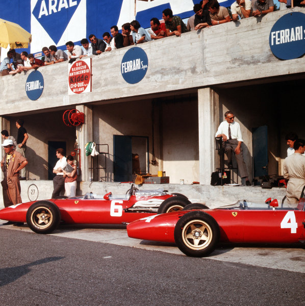Monza, Italy. 2-4 September 1966.The works Ferrari 312's in the pits.Ref-3/2352.World Copyright - LAT Photographic