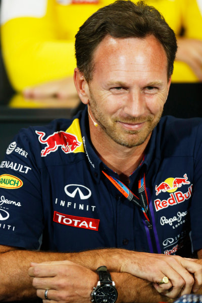 Monte Carlo, Monaco. Thursday 21 May 2015. Christian Horner, Team Principal, Red Bull Racing, in the team principals Press Conference. World Copyright: Alastair Staley/LAT Photographic. ref: Digital Image _79P0229