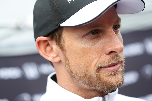 Red Bull Ring, Spielberg, Austria. Thursday 18 June 2015. Jenson Button, McLaren, talks to the press. World Copyright: Alastair Staley/LAT Photographic. ref: Digital Image _R6T6793