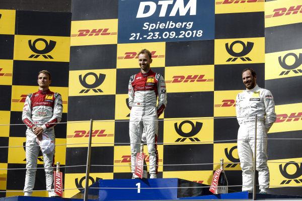 Podium: Race winner René Rast, Audi Sport Team Rosberg, second place Nico Müller, Audi Sport Team Abt Sportsline and third place Gary Paffett, Mercedes-AMG Team HWA.