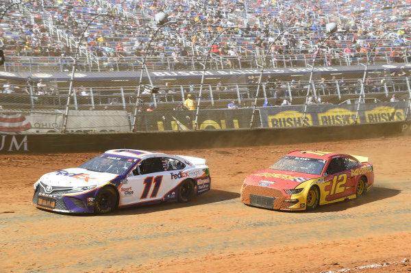#11: Denny Hamlin, Joe Gibbs Racing, Toyota Camry FedEx Freight, #12: Ryan Blaney, Team Penske, Ford Mustang Advance My Track Challenge