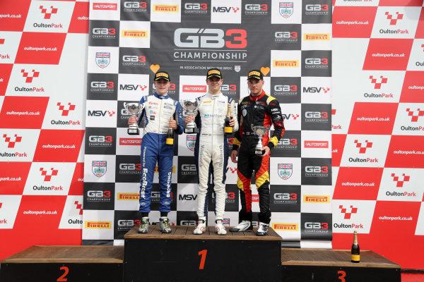 BRDC GB3 Race 1 Podium, Luke Browning (GBR) Fortec Motorsports BRDC GB3, Zak O'Sullivan (GBR) - Carlin BRDC GB3  and Ayrton Simmons (GBR) - Chris Dittman Racing BRDC GB3
