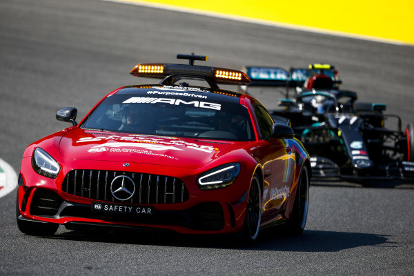 Safety Car leads Valtteri Bottas, Mercedes F1 W11 EQ Performance