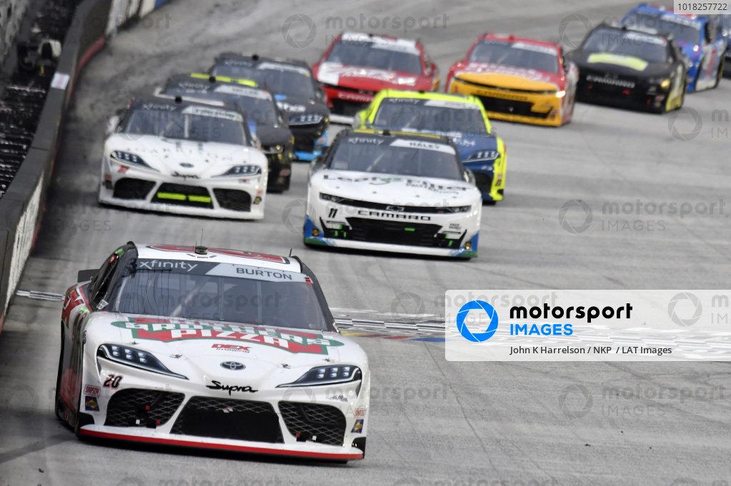 #20: Harrison Burton, Joe Gibbs Racing, Toyota Supra Hunt Brothers Pizza/DEX Imaging, #11: Justin Haley, Kaulig Racing, Chevrolet Camaro LeafFilter Gutter Protection