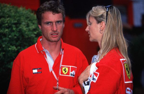 1998 Austrian Grand Prix.A1-Ring, Zeltweg, Austria.24-26 July 1998.Eddie Irvine (Ferrari) with his sister Sonia.World Copyright - LAT Photographic