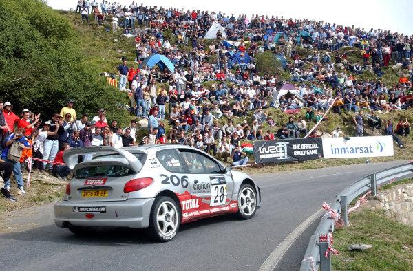 2002 World Rally Championship.Rallye d'Italia, 20-22 September.Sanremo, Italy.Cedric Robert on Stage 17 on his way to 7th overall.Photo: Ralph Hardwick/LAT