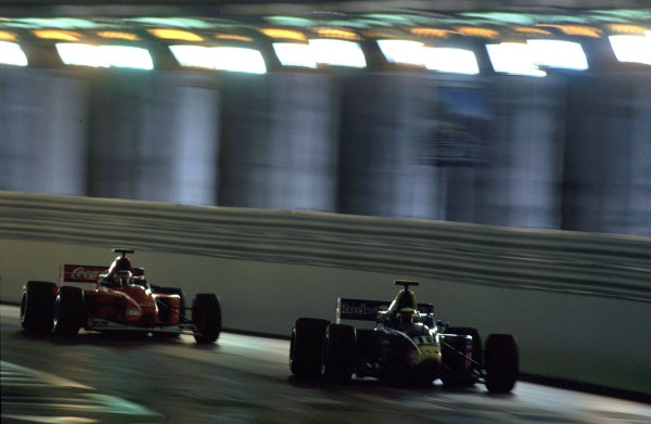 2001 F3000 ChampionshipMonte Carlo, Monaco. 26th May 2001Ricardo Mauricio (Red Bull Jnr Team) leads Tomas Enge (Coca-Cola Nordic Racing) through the tunnel.World Copyright: Charles Coates / LAT Photographicref: 35mm Image A18
