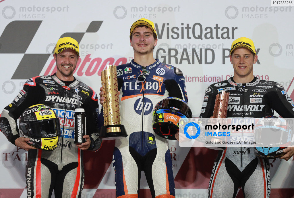 Podium: second place Thomas Luthi, Intact GP, Race winner Lorenzo Baldassarri, Pons HP40, third place Marcel Schrotter, Intact GP.