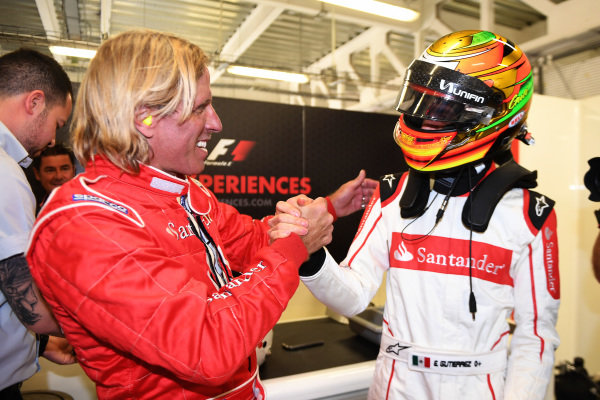 Esteban Gutierrez (MEX) F1 Experiences 2-Seater Driver and F1 Experiences 2-Seater passenger at Formula One World Championship, Rd18, Mexican Grand Prix, Practice, Circuit Hermanos Rodriguez, Mexico City, Mexico, Friday 27 October 2017.