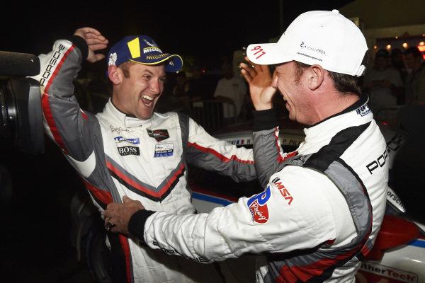 #911 Porsche GT Team Porsche 911 RSR, GTLM: Patrick Pilet, Nick Tandy, Frederic Makowiecki celebrate the win in victory lane