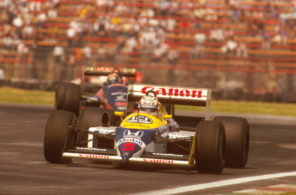 Mexico City, Mexico.16-18 October 1987.Nigel Mansell (Williams FW11B Honda) 1st position.Ref-87 MEX 12.World Copyright - LAT Photographic