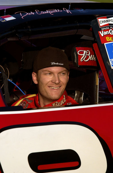 Dale Earnhardt,Jr is all smiles after winning the pole for Sunday's race.