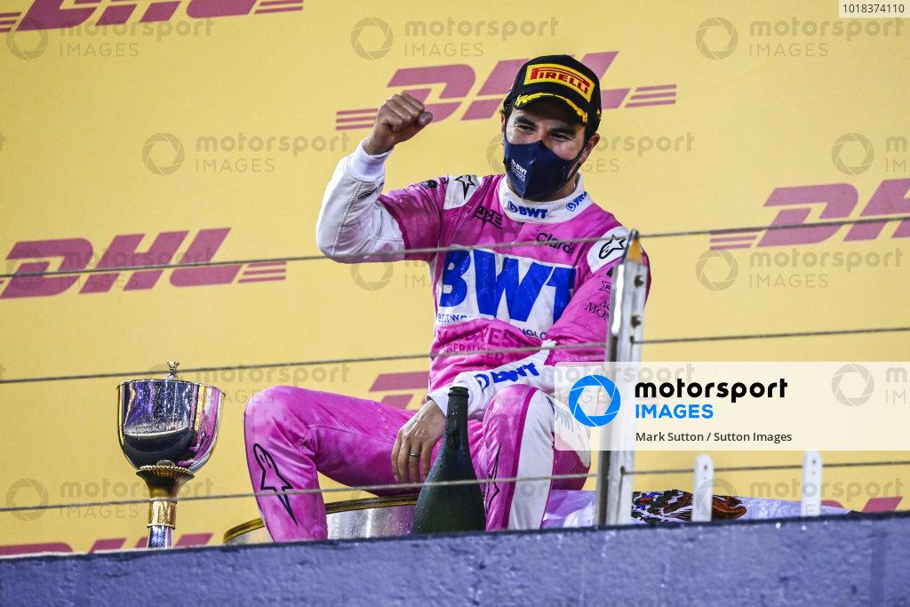 Sergio Perez, Racing Point, 1st position, celebrates on the podium