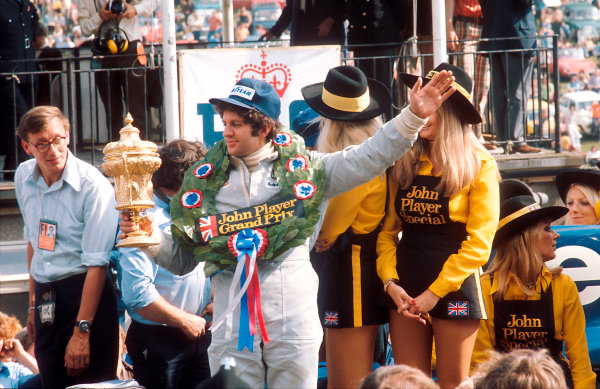 1974 British Grand Prix.Brands Hatch, England.18-20 July 1974.Jody Scheckter (Tyrrell Ford) 1st position on the podium.Ref-74 GB 14.World Copyright - LAT Photographic