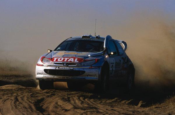 2002 World Rally ChampionshipSafari Rally, Kenya. 11th - 14th July 2002.Harri Rovanpera/Risto Pietilainen (Peugeot 206 WRC), action.World Copyright: McKlein/LAT Photographicref: 35mm Image A05