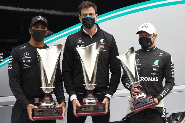 Race Winner Lewis Hamilton, Mercedes F1 W11 EQ Performance, Toto Wolff, Executive Director (Business), Mercedes AMG and , 2nd position,Valtteri Bottas, Mercedes-AMG Petronas F1 pose with their trophies.