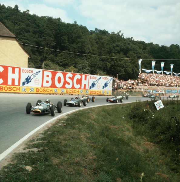 Solitude, Germany.28 July 1963.Jack Brabham (Brabham BT3-Climax) leads Jo Bonnier (Cooper T60-Climax) and the field. Brabham finished in 1st position.Ref-3/0986.World Copyright - LAT Photographic