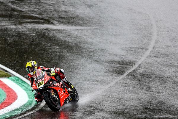 Alvaro Bautista, Aruba.it Racing-Ducati Team on wet assessment laps.