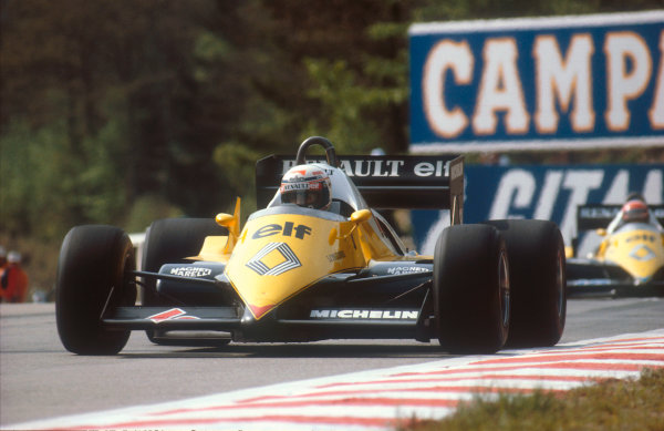 1983 Belgian Grand Prix.Spa-Francorchamps, Belgium.20-22 May 1983.Alain Prost (Renault RE40) 1st position followed by teammate Eddie Cheever (Renault RE40).  Ref: 83BEL16. World Copyright - LAT Photographic