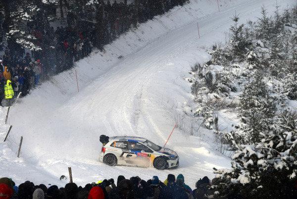 Jari-Matti Latvala (FIN) and Miikka Anttila (FIN), VW Polo WRC on stage 6. FIA World Rally Championship, Rd1, Rally Monte Carlo, Day Two, Monte Carlo, 17 January 2013.