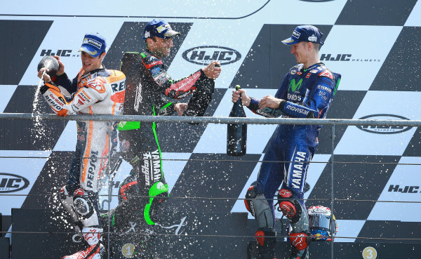 2017 MotoGP Championship - Round 5 Le Mans, France Sunday 21 May 2017 Podium: winner Maverick Viñales, Yamaha Factory Racing, second place Johann Zarco, Monster Yamaha Tech 3, third place Dani Pedrosa, Repsol Honda Team World Copyright: Gold & Goose Photography/LAT Images ref: Digital Image 672181