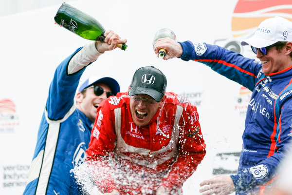 2017 Verizon IndyCar Series - Firestone Grand Prix of St. Petersburg St. Petersburg, FL USA Sunday 12 March 2017 Sebastien Bourdais , Simon Pagenaud , Scott Dixon  celebrating in victory lane with champagne World Copyright:Sam Cobb/LAT Images ref: Digital Image cobb-stpete-170312-4767