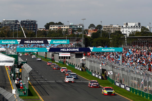 Australian Supercars Series Albert Park, Melbourne, Australia. Sunday 26 March 2017. Race 4. Chaz Mostert, No.55 Ford Falcon FG-X, Supercheap Auto Racing, leads Shane van Gisbergen, No.97 Holden Commodore VF, Red Bull Holden Racing Team, and Tim Slade, No.14 Holden Commodore VF, Brad Jones Racing. World Copyright: Zak Mauger/LAT Images ref: Digital Image _56I0208