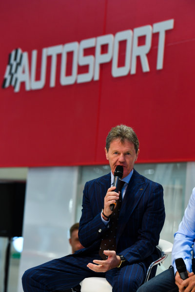 Autosport International Exhibition. National Exhibition Centre, Birmingham, UK. Thursday 11th January 2018. Malcolm Wilson talks to Henry Hope-Frost on the Autosport Stage. World Copyright: Mark Sutton/Sutton Images/LAT Images Ref: DSC_6580