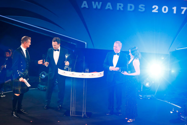 2017 Autosport Awards Grosvenor House Hotel, Park Lane, London. Sunday 3 December 2017. David Coulthard, Christian Horner, Team Principal, Red Bull Racing, Martin Brundle and Lee McKenzie on stage. World Copyright: Joe Portlock/LAT Images Ref: Digital Image _r3i5754