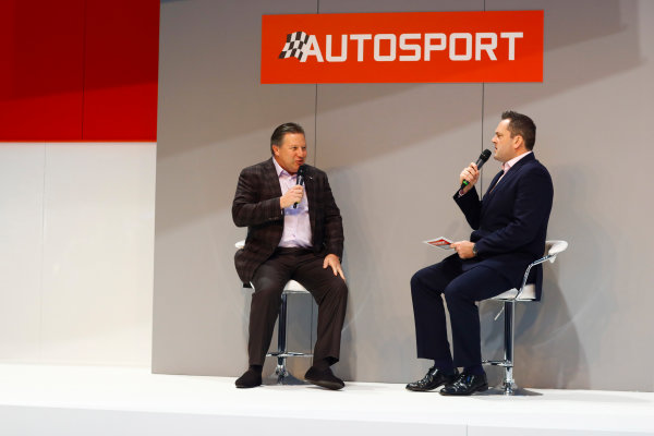Autosport International Exhibition. National Exhibition Centre, Birmingham, UK. Thursday 11th January 2017. Zak Browb, is interviewed by Henry Hope-Frost, on the Autosport Stage.World Copyright: Ashleigh Hartwell/LAT Images Ref: _R3I6580