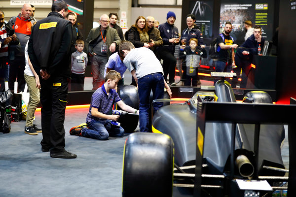 Autosport International Exhibition. National Exhibition Centre, Birmingham, UK. Sunday 14th January 2018. The Pirelli stand.World Copyright: Ashleigh Hartwell/LAT Images Ref: _R3I9689