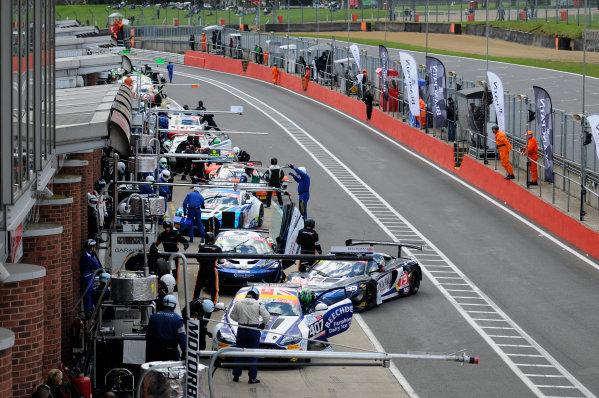 2016 British GT Championship, Brands Hatch, Kent. 16th - 17th April 2016. British GT pit stops. World Copyright: Ebrey / LAT Photographic.