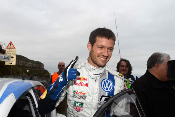 Rally winner Sebastien Ogier (FRA), VW Polo R WRC at the end of stage 22. FIA World Rally Championship, Rd13, Wales Rally GB, Deeside, Wales, Day Three, Sunday 17 November 2013.