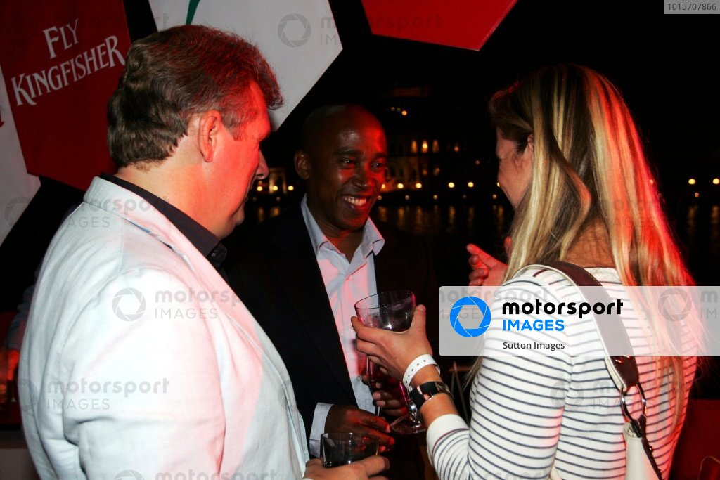 Anthony Hamilton (GBR) (Centre) at the Fly Kingfisher Boat Party.