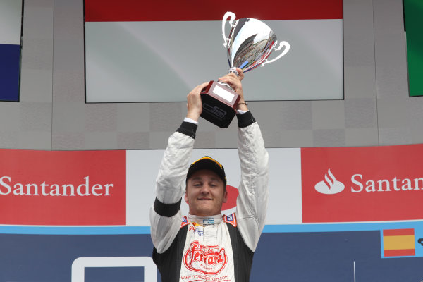 2013 GP2 Series. Round 3.  Circuit de Catalunya, Barcelona Spain. 12th May 2013. Sunday Race. Stefano Coletti (MON, Rapax) celebrates his victory on the podium.  World Copyright: Malcolm Griffiths/GP2 Series Media Service. Ref: C76D6006