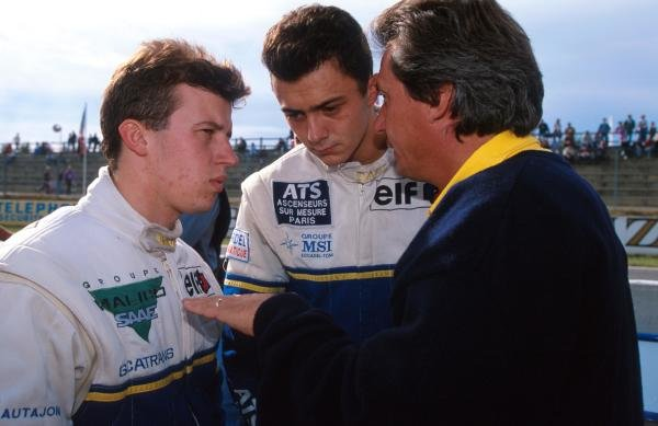 DAMS owner Jean Paul Driot (right) talks with his drivers: champion  Olivier Panis (left) (FRA) and race winner Frank Lagorce (FRA) International Formula 3000 Championship, Nogaro, France, 10 October 1993.