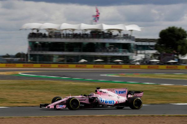 Silverstone, Northamptonshire, UK.  Friday 14 July 2017. Sergio Perez, Force India VJM10 Mercedes. World Copyright: Zak Mauger/LAT Images  ref: Digital Image _54I4528