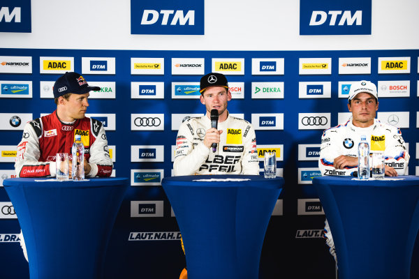 2017 DTM Round 5 Moscow Raceway, Moscow, Russia Sunday 23 July 2017. Press Conference: Mattias Ekström, Audi Sport Team Abt Sportsline, Audi A5 DTM, Maro Engel, Mercedes-AMG Team HWA, Mercedes-AMG C63 DTM, Bruno Spengler, BMW Team RBM, BMW M4 DTM World Copyright: Evgeniy Safronov/LAT Images ref: Digital Image SafronovEvgeniy_2017_DTM_MRW_SanFast-25
