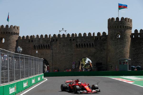 Baku City Circuit, Baku, Azerbaijan. Friday 23 June 2017. Sebastian Vettel, Ferrari SF70H.  World Copyright: Glenn Dunbar/LAT Images ref: Digital Image _31I9366