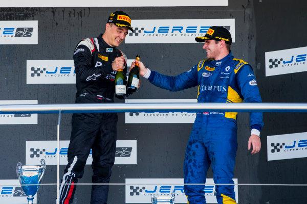 2017 FIA Formula 2 Round 10. Circuito de Jerez, Jerez, Spain. Sunday 8 October 2017. Artem Markelov (RUS, RUSSIAN TIME), Oliver Rowland (GBR, DAMS).  Photo: Zak Mauger/FIA Formula 2. ref: Digital Image _X0W2955