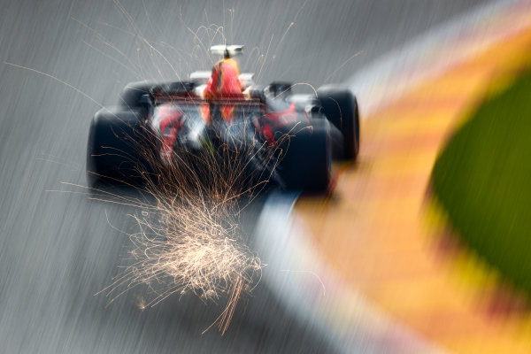 Spa Francorchamps, Belgium.  Friday 25 August 2017. Sparks fly from the rear of Max Verstappen, Red Bull Racing RB13 TAG Heuer. World Copyright: Sam Bloxham/LAT Images  ref: Digital Image _W6I8506