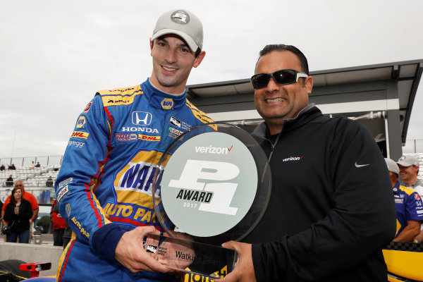 Verizon IndyCar Series IndyCar Grand Prix at the Glen Watkins Glen International, Watkins Glen, NY USA Saturday 2 September 2017 Verizon P1 Pole Award winner Alexander Rossi receives the P1 trophy from Steven Williams of Verizon World Copyright: Michael L. Levitt LAT Images