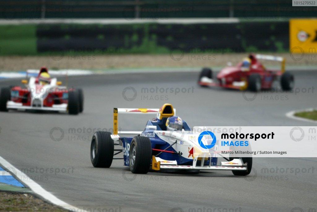 Race winner Sebastian Vettel (GER), Eifelland Racing, in leading position. Formula BMW ADAC Championship, Rd20, Hockenheim, Germany. 5 October 2003. DIGITAL IMAGE