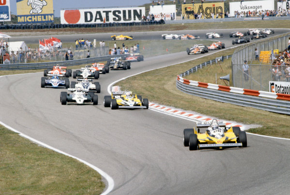 Zandvoort, Holland. 28-30 August 1981.  Alain Prost leads Rene Arnoux (both Renault RE30), Alan Jones (Williams FW07C-Ford Cosworth), Nelson Piquet (Brabham BT49C-Ford Cosworth), Jacques Laffite (Ligier JS17-Matra), Carlos Reutemann (Williams FW07C-Ford Cosworth), Mario Andretti (Alfa Romeo 179C), John Watson (McLaren MP4/1-Ford Cosworth), Elio de Angelis (Lotus 87-Ford Cosworth), Patrick Tambay (Ligier JS17-Matra), Didier Pironi (Ferrari 126CK), Riccardo Patrese (Arrows A3-Ford Cosworth), Bruno Giacomelli (Alfa Romeo 179C), Hector Rebaque (Brabham BT49C-Ford Cosworth), Derek Daly (March 811-Ford Cosworth) and Nigel Mansell (Lotus 87-Ford Cosworth).  Ref: 81HOL17. World Copyright: LAT Photographic